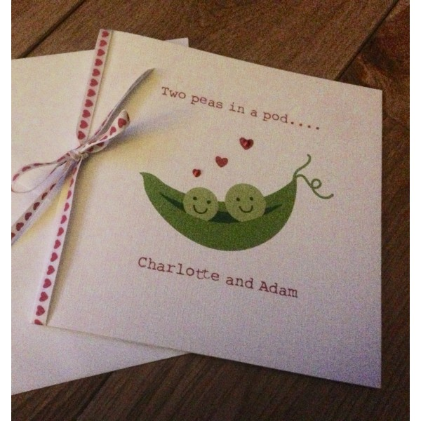 Two peas in a pod cute Valentine's Day card