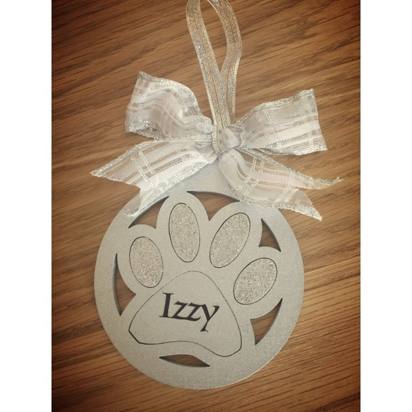 Gold / Silver Sparkling Personalised paw pet bauble