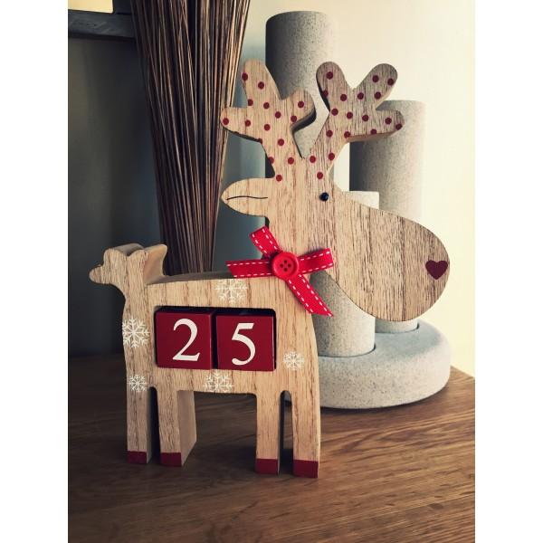 Countdown to christmas freestanding wooden reindeer