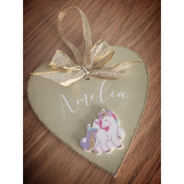 Sparkling unicorn heart shaped bauble