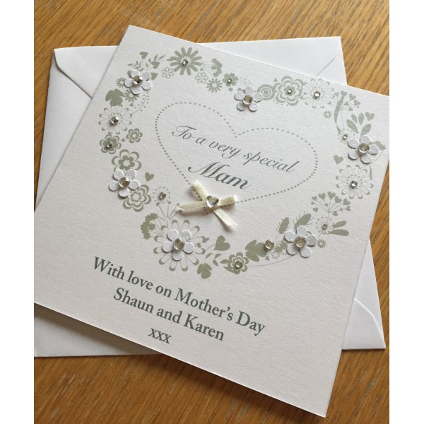 Fully Embellished Heart Mother's Day card