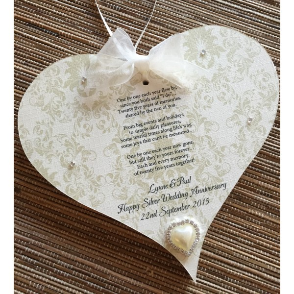 Anniversary Poem Hanging Heart - large size