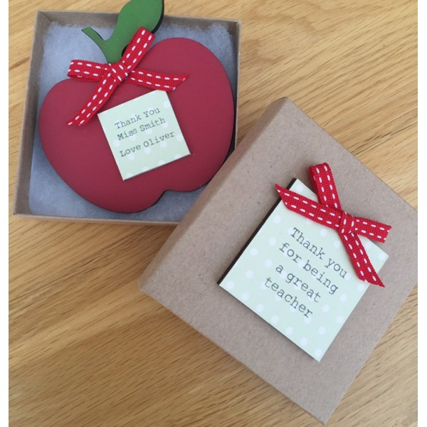 Gift Boxed Personalised Red Apple Teacher Magnet