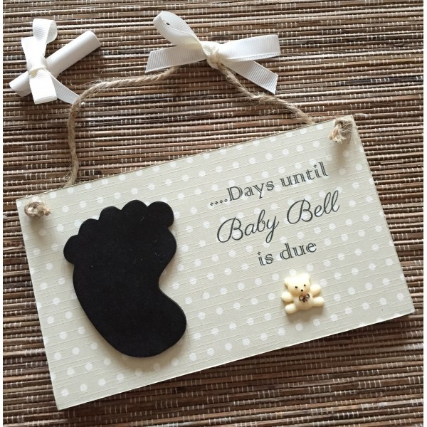 Baby Polka Dot Countdown Plaque