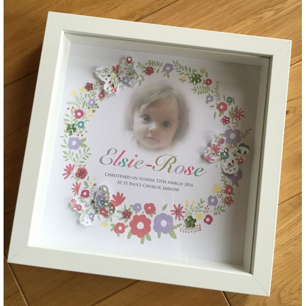 Floral Photo Butterfly Baby Box Frame
