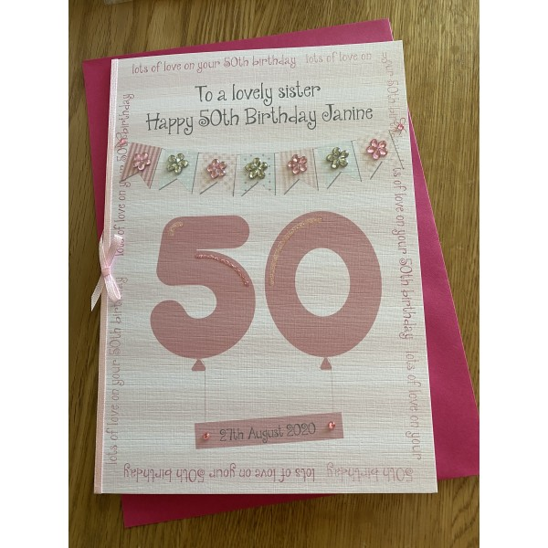 Special birthday Balloon card with floral bunting