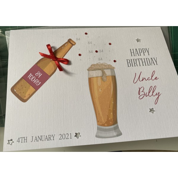 Mens Beer bottle and Glass Birthday Celebration Card