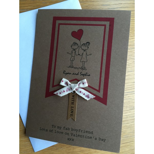 Rustic Valentine's Day card for cute couple
