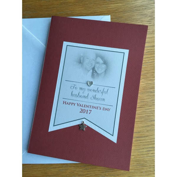 Flag style Red and White Photo Valentine's Day card