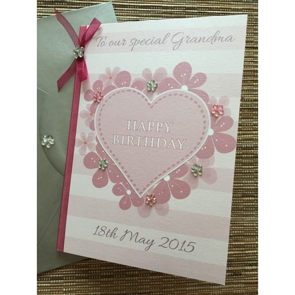 Floral Pink heart card