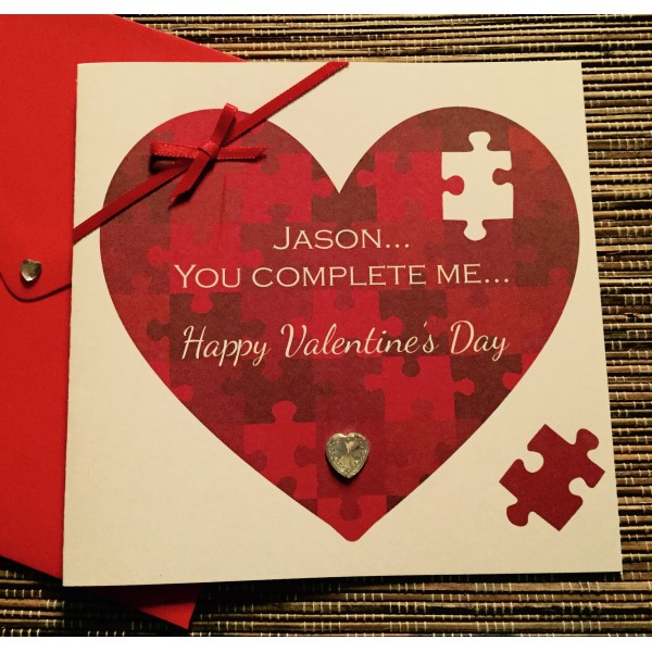 You Complete Me Jigsaw Heart Valentine's Day Card