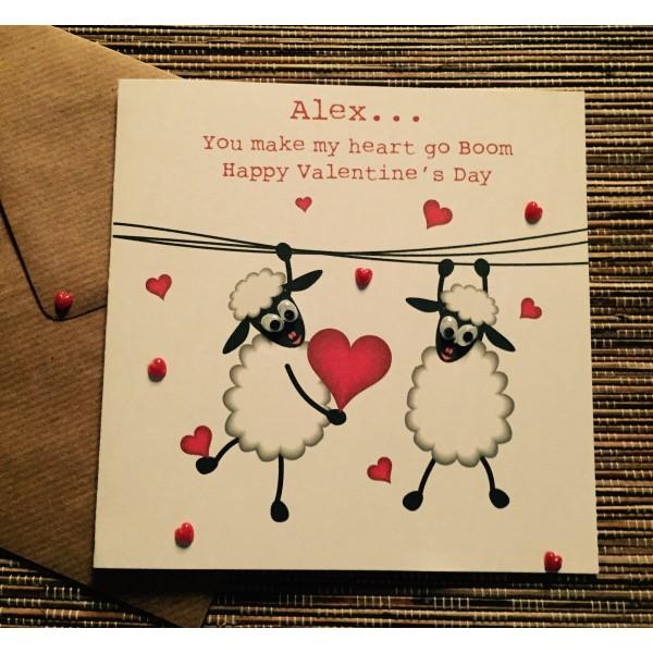 Cute Sheep 'You make my heart go boom' Valentine's Day Card