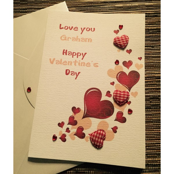 Sweeping red hearts Valentine's Day card