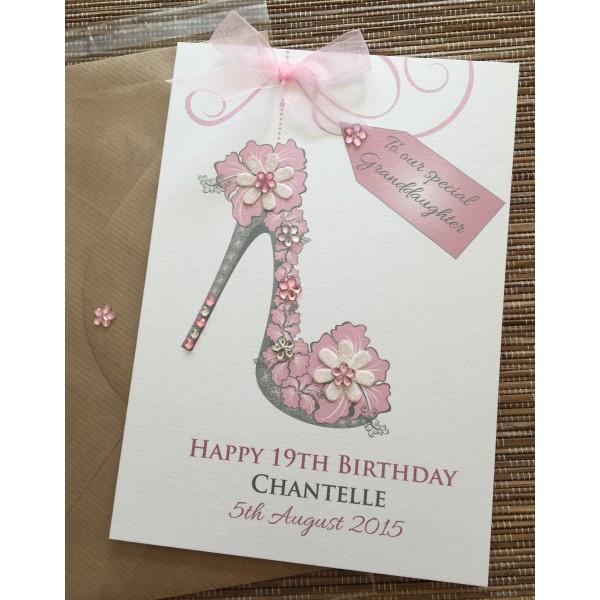 Stiletto Sparkle flower shoe birthday card