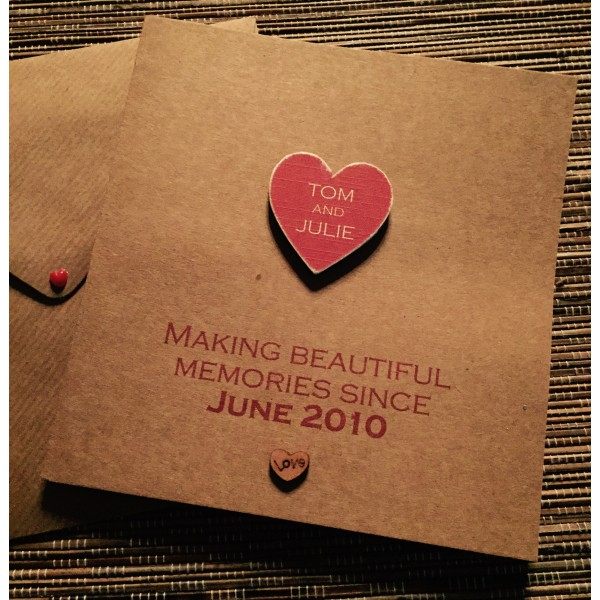 Making Memories Card with wooden name heart