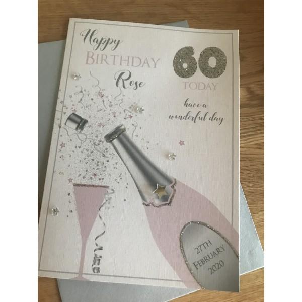 Glitter Champagne Celebration birthday card
