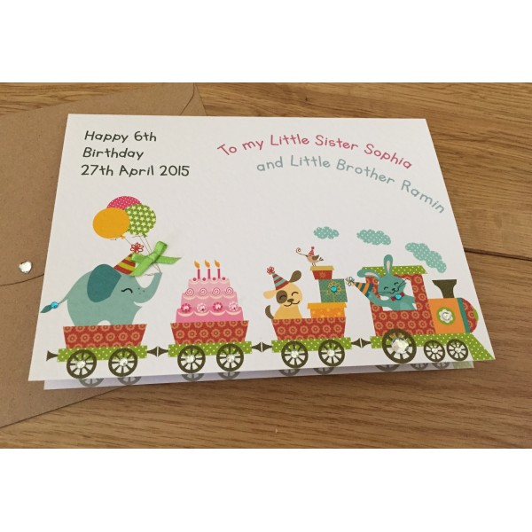 Elephant Train Celebration Birthday Card