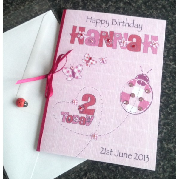 Girl's Pink/Red Ladybird Cute Birthday Card