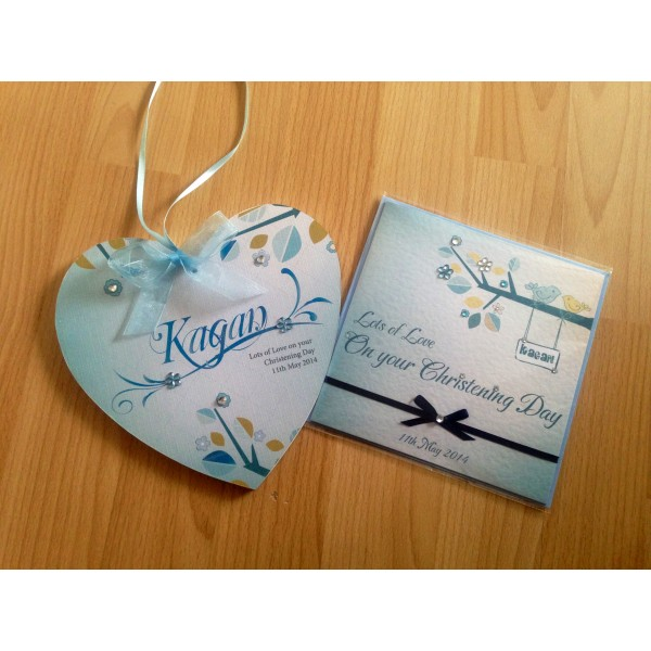 Christening Heart and Card matching set