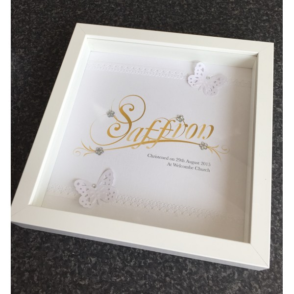 Christening Butterfly Name Frame