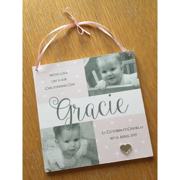 Christening / New Baby hanging picture plaque with photos