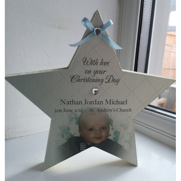 Freestanding Christening Star with Photo