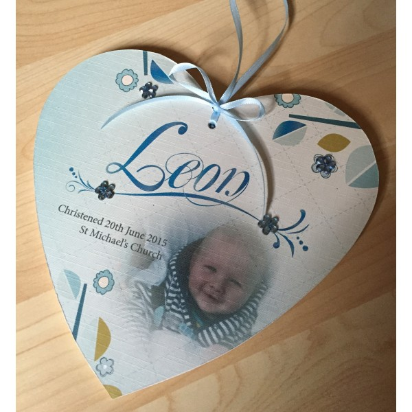 Christening Name Hanging Heart with photo