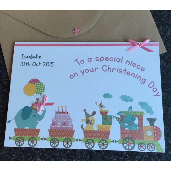 Elephant Train Cute Christening / Naming Day Card