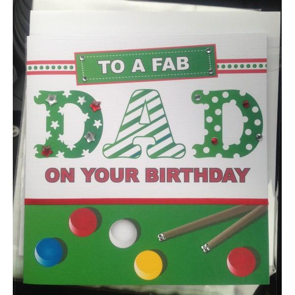 Snooker Themed Mens Birthday Card