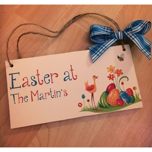 Easter Themed Personalised Family Plaque