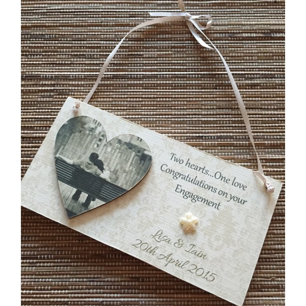 Special Occasion Heart Picture Engagement / Wedding Plaque