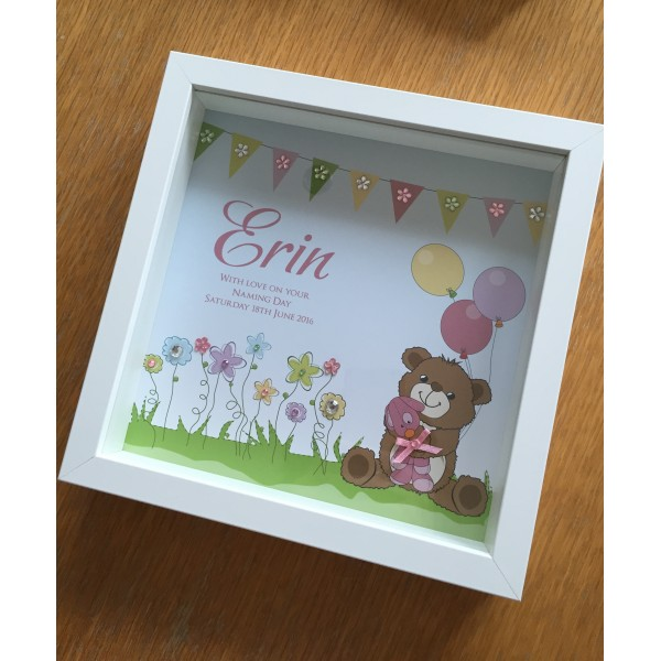 Cute Teddy Bear Themed Naming Day / New Baby Frame