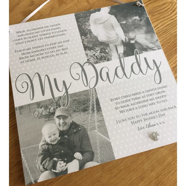 Walk with me daddy dad square hanging photo poem plaque