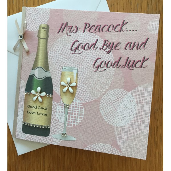 Celebration Glass and Prosecco Good Luck Themed Card
