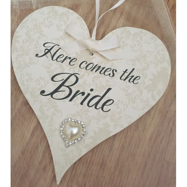 Here comes the bride hanging heart - medium size