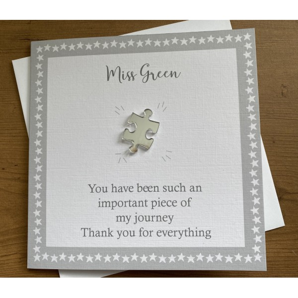 Shiny mirrored Jigsaw Piece Thank You card for teacher or Teaching Assistant