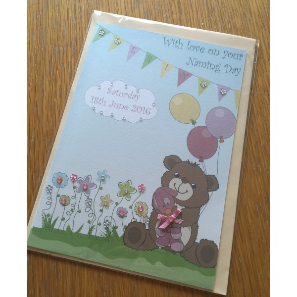 Teddy Bear Themed Card Children's Naming Day Birthday