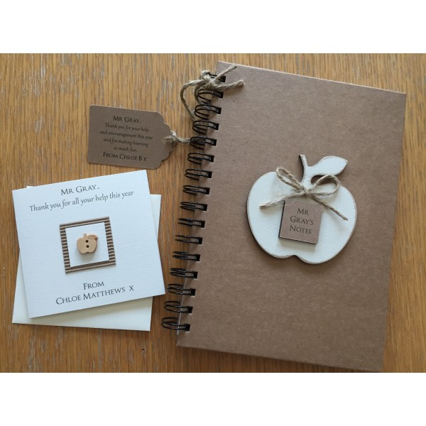 Personalised Teacher's Apple Notebook and Card Set