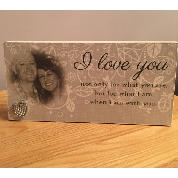 Freestanding Valentine's 'I love you' photo block
