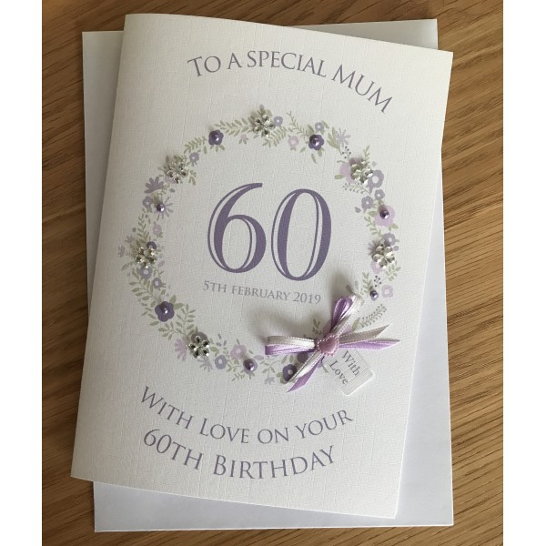 Floral Circle Special Milestone Birthday Card