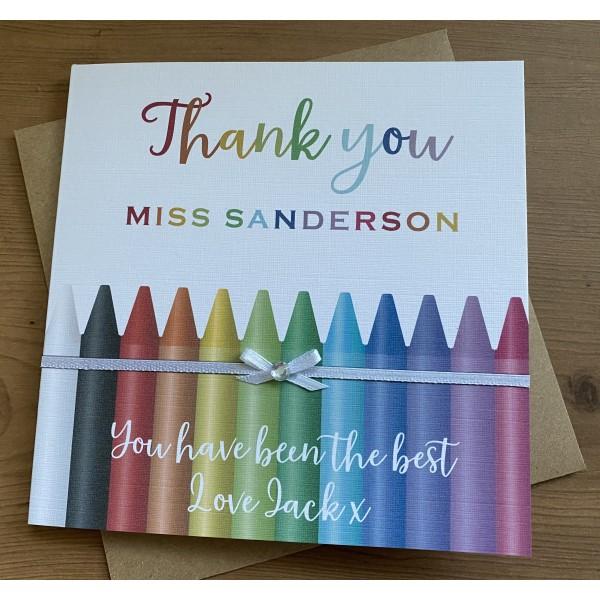 Rainbow of Crayons Teacher / Teaching assistant Thank You card