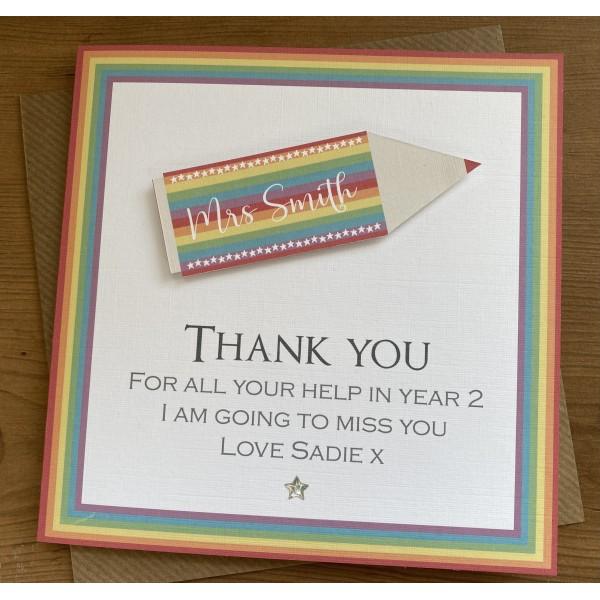 3D Rainbow Pencil card Teacher/ teaching assistant Thank you
