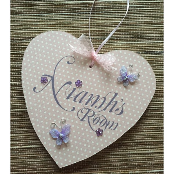 Bedroom Name Heart with glittery butterflies