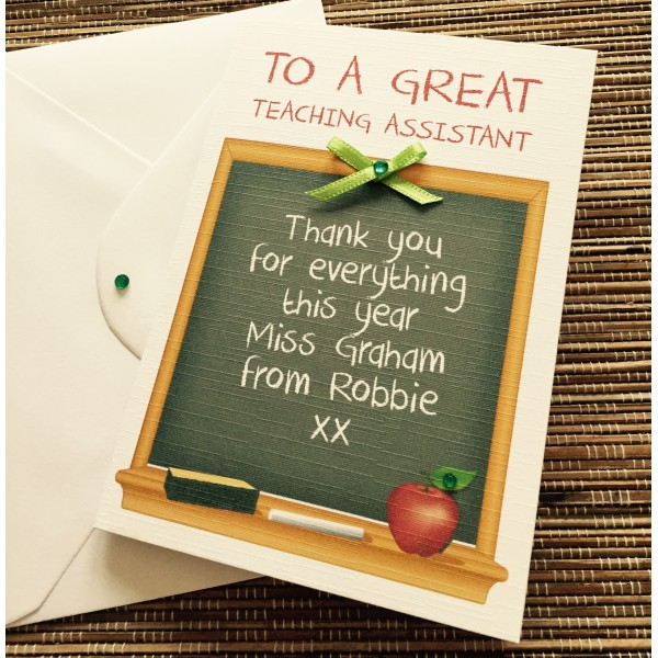 Teaching Assistant Blackboard Themed Thank You Card