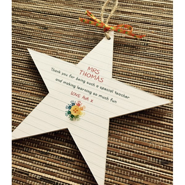 Teacher Writing Paper Style Hanging Star
