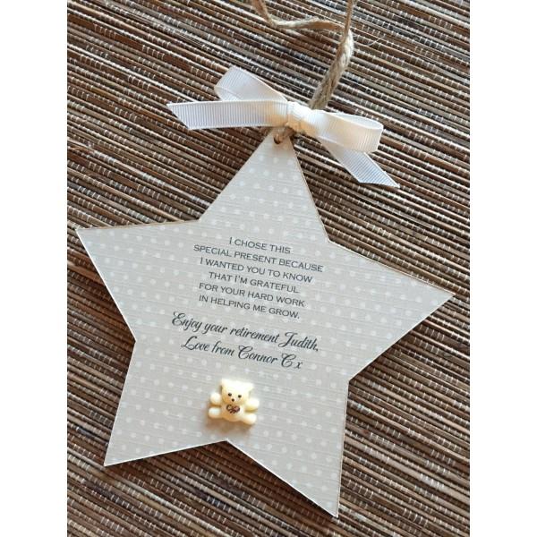 Teacher thank you hanging star