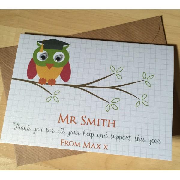 Owl Themed Teacher Thank You Card