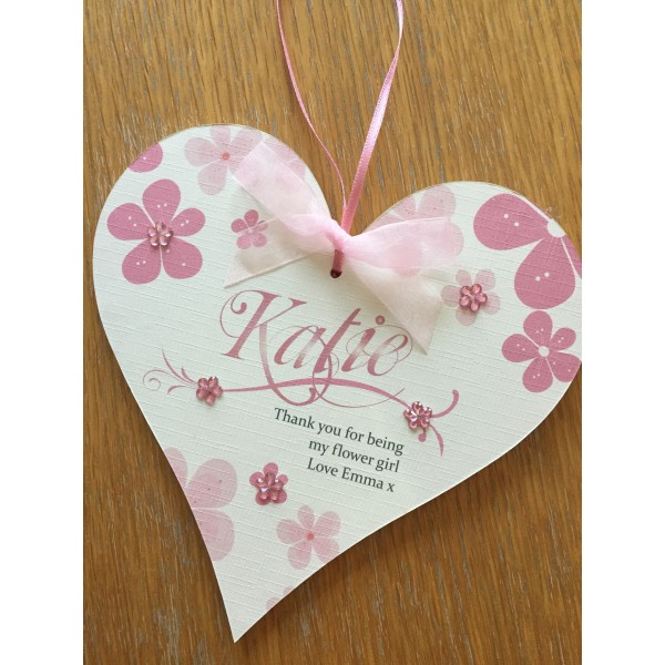 Large Floral Thank You Flower Girl / Bridesmaid Heart