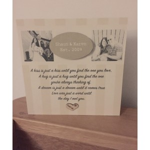 Freestanding Valentine's / Anniversary photo and poem block
