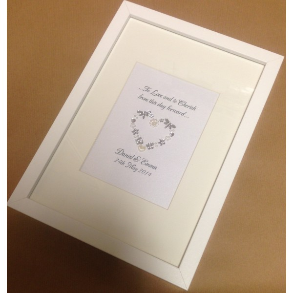 Sparkling Wedding Sequin Heart Frame